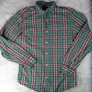 Gap Green Red Check Button Front L/S Shirt LG